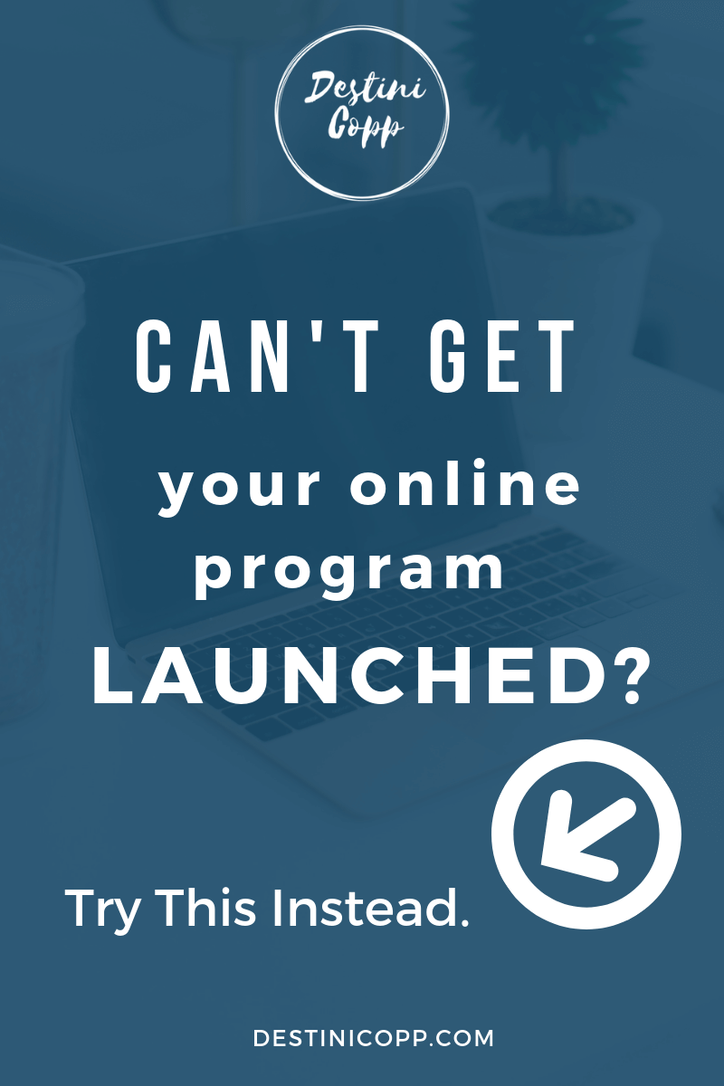 Can't get your online program launched? Try this instead.