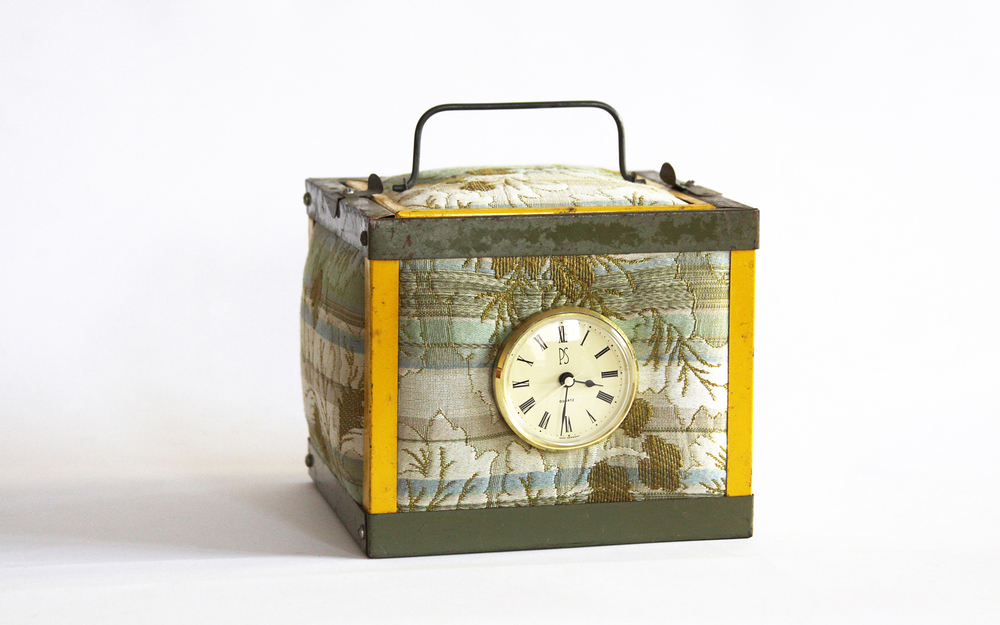 Boxing Time Reclaimed fabric, metal, wood and clock parts 7.5x7.5x7.5""