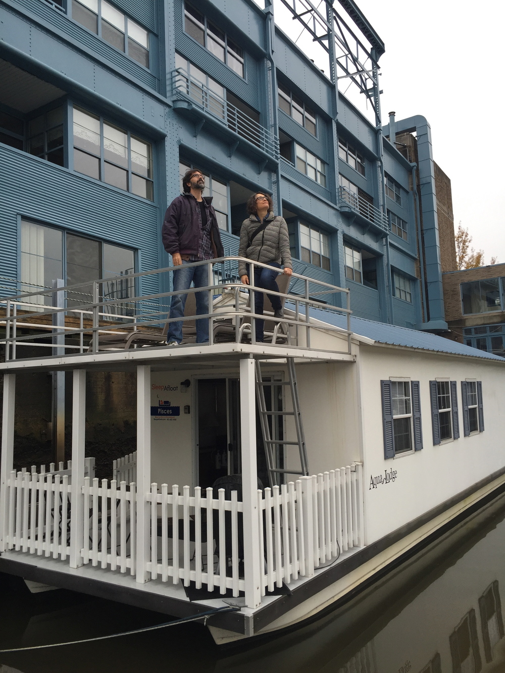 From the Cross Pollination Residency, Mark Lord and Shelley Spector on their houseboat studio.