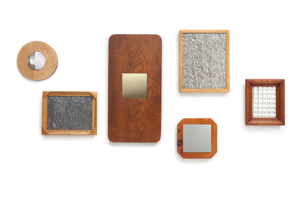Mirrors Reclaimed wood, glass and metal Dimensions variable
