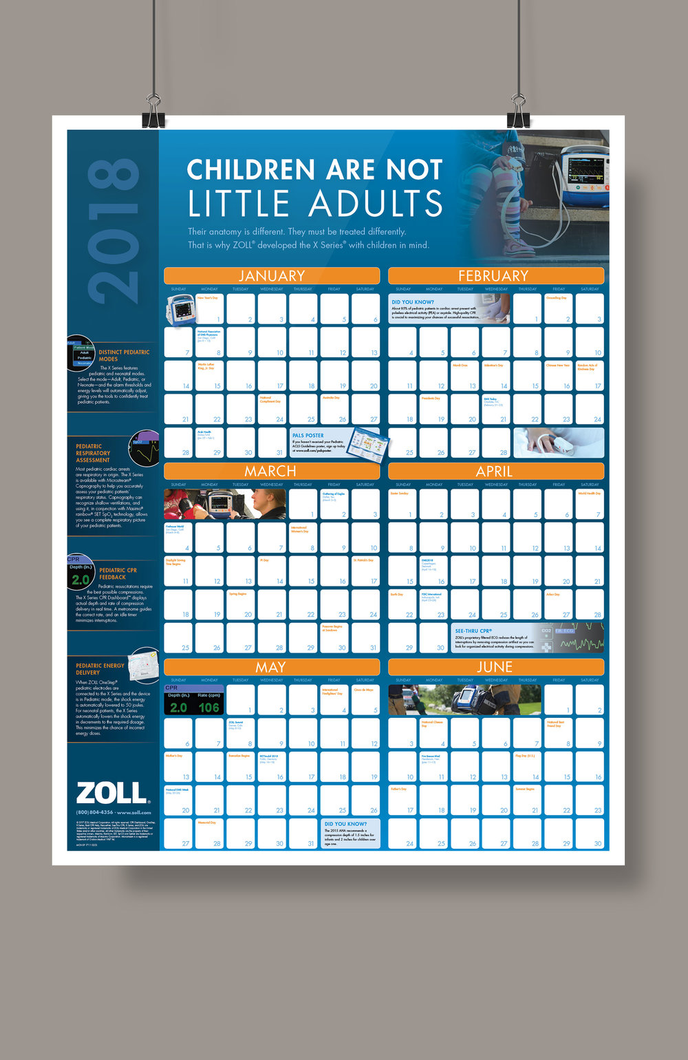 Double sided full-year calendar for ZOLL Medical, EMS Market.