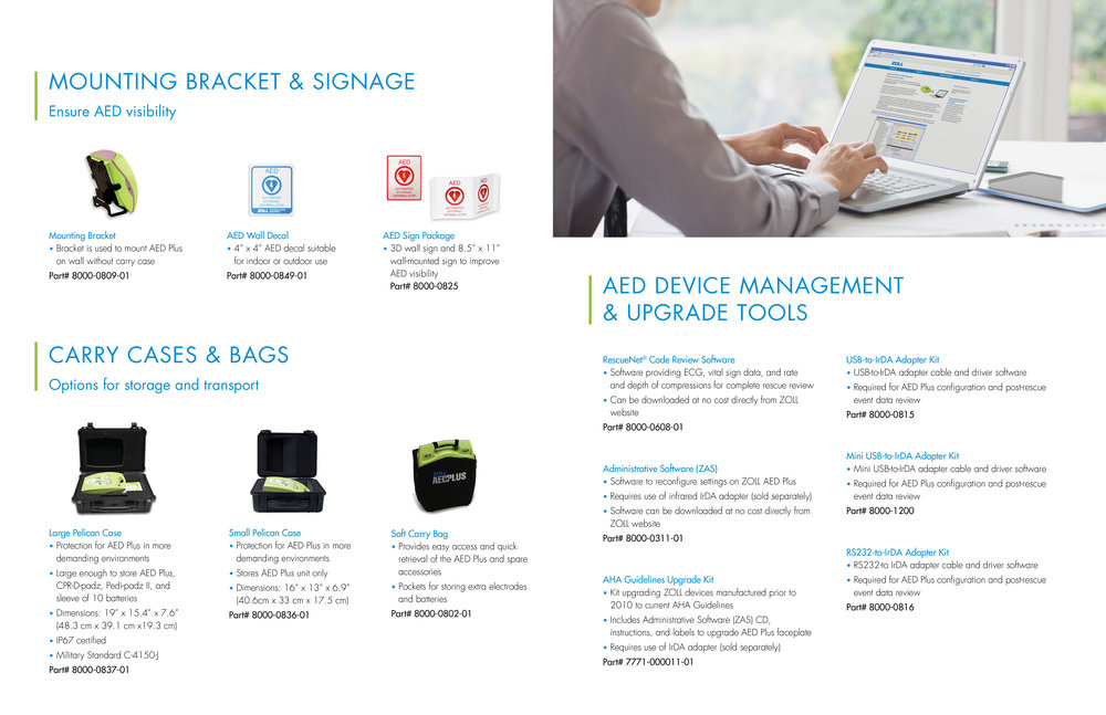 ZOLL product accessories brochure for the AED Plus.