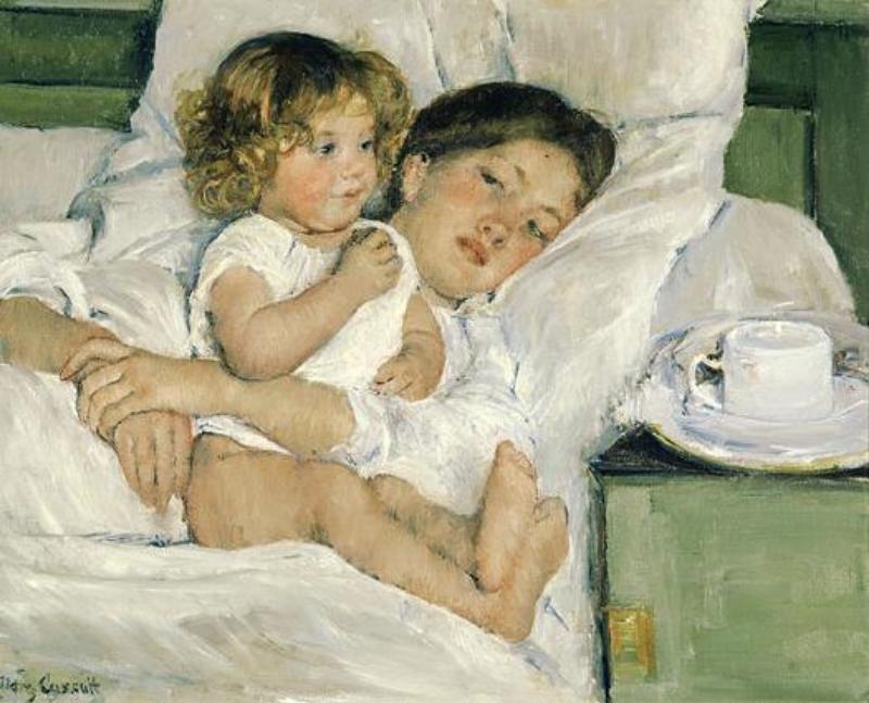 Breakfast in Bed, Mary Stevenson Cassatt, 1897 The Huntington Museum, San Marino, California More on this work here.