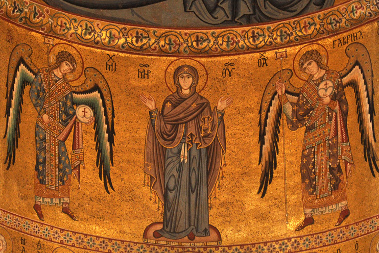 The Theotokos surrounded by Archangels, Cifalù Cathedral, Sicily