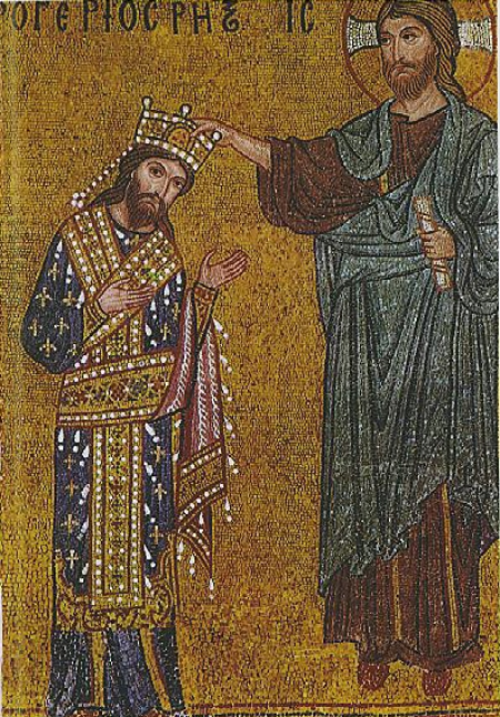 Detail of the mosaic with Roger II receiving the crown by Christ, Martorana,Palermo.