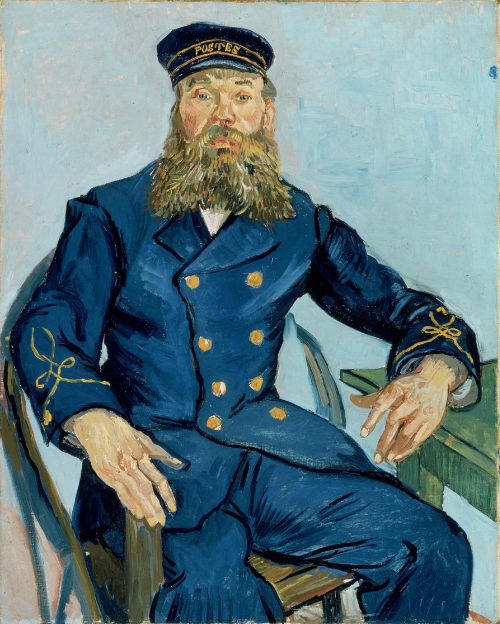Postman Joseph Roulin,1888,Vincent van Gogh(Dutch (worked in France), 1853–1890) Location: Boston MFA, currently not on view.