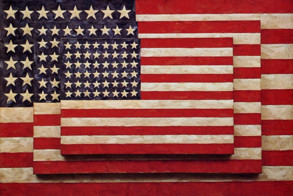 """Three Flags"" 1954-55 by Jasper Johns"