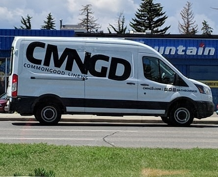 This pretty little ride was caught in action by one of our fans today. Do you ever see the CMNGD truck motoring around town?  #cmngdlinens #morethanjustlaundry #onthego #jimpeplinski #deliveryservice #localbiz #yycstartup