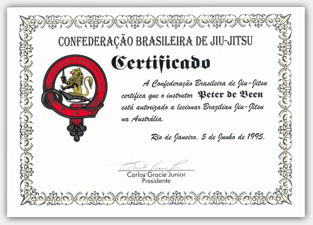 This Certificate is one of only a handful presented to rare individuals. The first of it's kind World-wide and the only one given to a non-Brasilian, it is a very rare and powerful statement, bestowed upon Pete by the namesake son of the founder of Gracie Jiu Jitsu, Carlos Gracie Jr.
