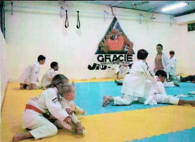Photo: Max's first Jiu Jitsu lesson at the original Gracie Barra academy, Brazil.