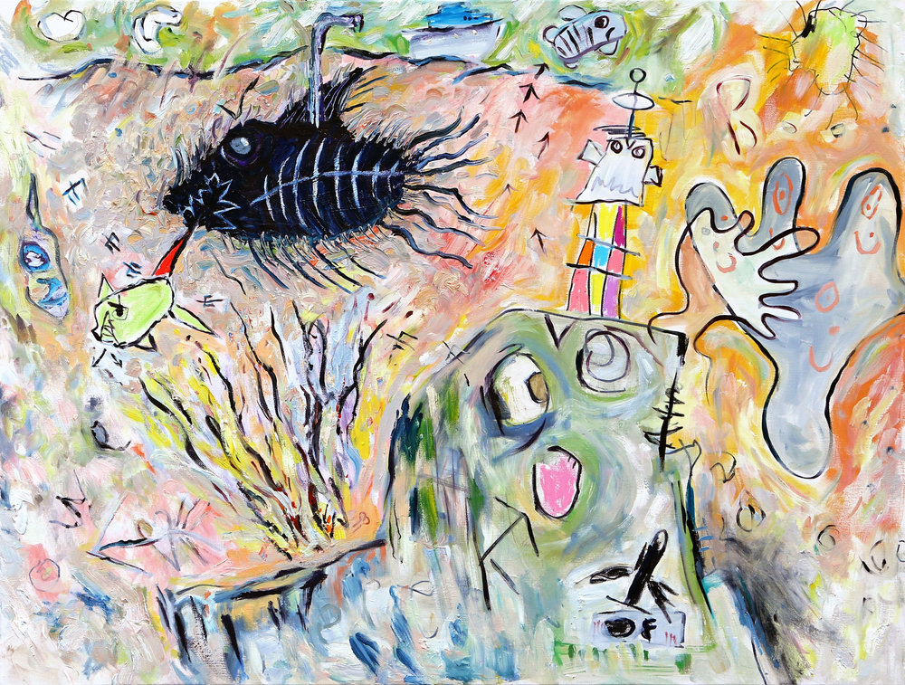 """Nightmare Fishes Feeding at the Robot Hotel"" (30"" x 40"")"