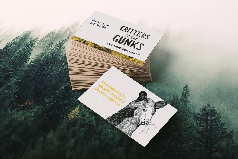 Critters of the Gunks is a theoretical small business that sells merchandise featuring animals that live in the Shawangunk mountain range. With every purchase made money will be given back to charities to help protect the Gunks. In addition, a fun fact zine will be sent along with the purchased goods that inform the consumer about the animal featured on their goods.