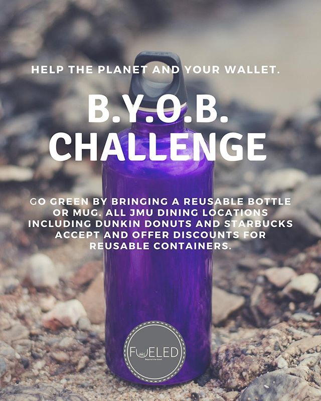 Let's work towards sustainable consumption patterns! Take the challenge to bring your own bottle to ALL JMU dining facilities! Simple changes like this are ways consumers have the power to help our planet 🌎 why not start today?! #jmusustainability