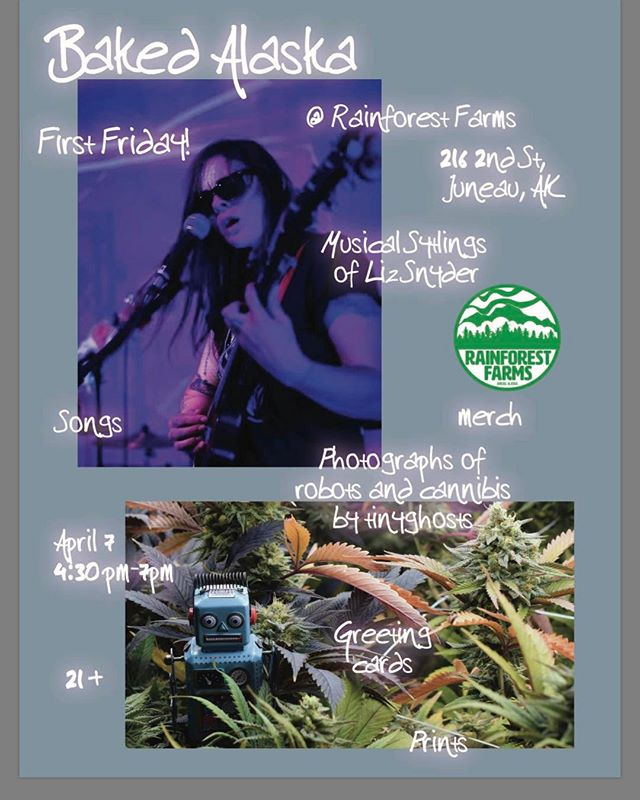 Music and Art this week @rainforestfarms #lizsnyder #tinyghosts downtown retail store April-first Friday #gallerywalk @ 4:30pm  #akfolkfest #akfolkfest17