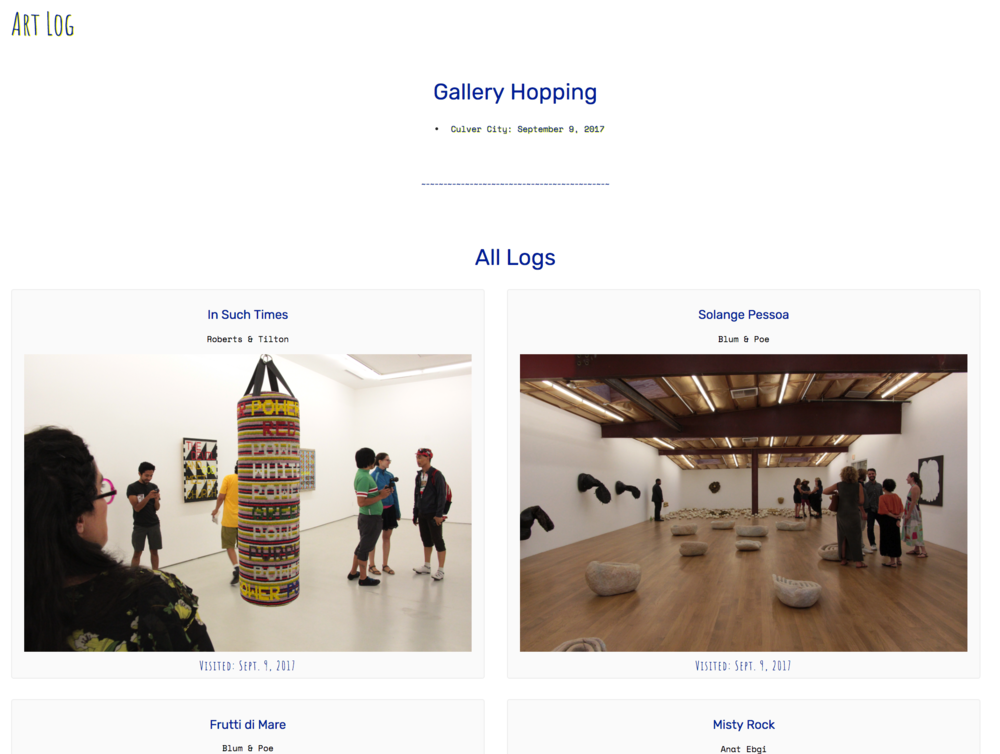 Art Log is an archive of the exhibitions, art fairs, and art world events that I've attended.