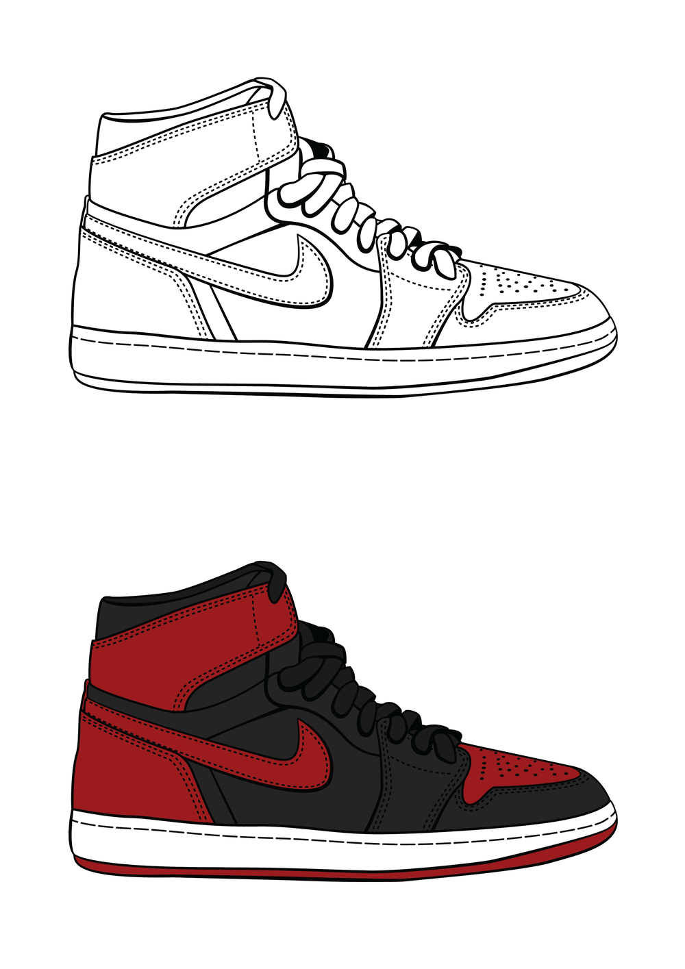 outline of bred 1 jordan