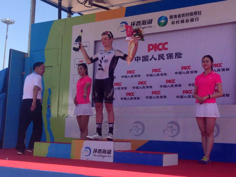"Jason Christie wins the ""Most Combative"" jersey in Stage 11. Photo by Simon Blake"