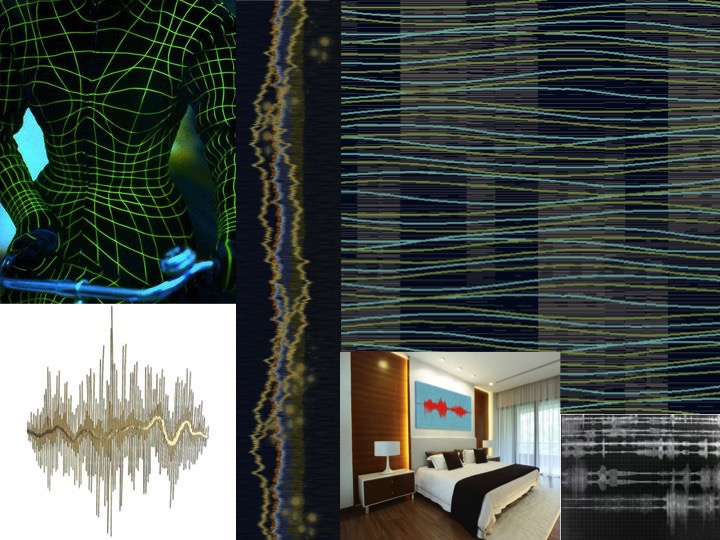Top Left: Thierry Mugler tumblr / Middle: 1956 by Tai Ping design no. FX12244-22 / Top Left: 1956 by Tai Ping design no. BX02803-12 / Interior Hotel image: via Pinterest / Bottom Left: Sound wave wall art via Tumblr