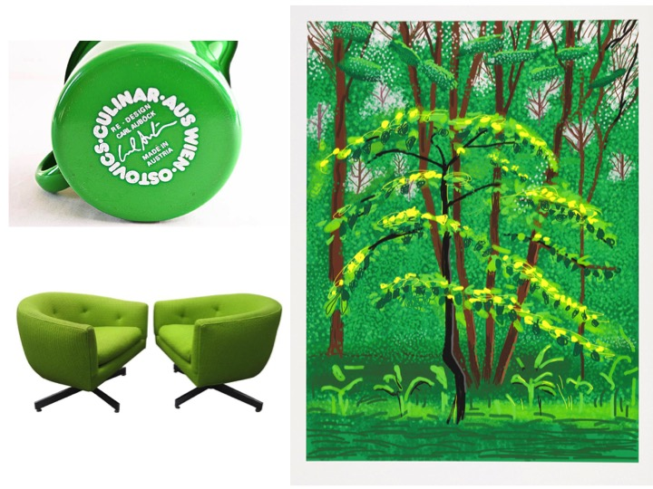 Top Left: Vintage tin cup by Aus Wien / Bottom Left: Pair of Milo Baughman barrel swivel chairs  Left: Artist David Hockney