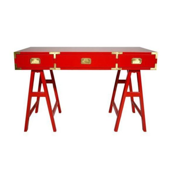 Red & Brass Mid Century Campaign Desk