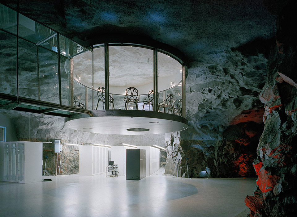 Bahnhof Pionen White Mountains Data Center Stockhom, Sweden - Sitting beneath nearly 100 feet of rock, the cavern was little more than an empty, eerie cave before architect Albert France-Lanord and Internet service provider Bahnhof transformed it into what it is today.