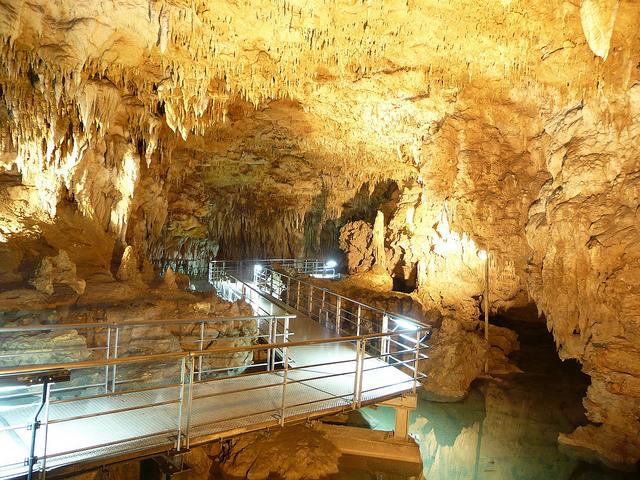 The walkway in Gykusendo Cave in Okinawa