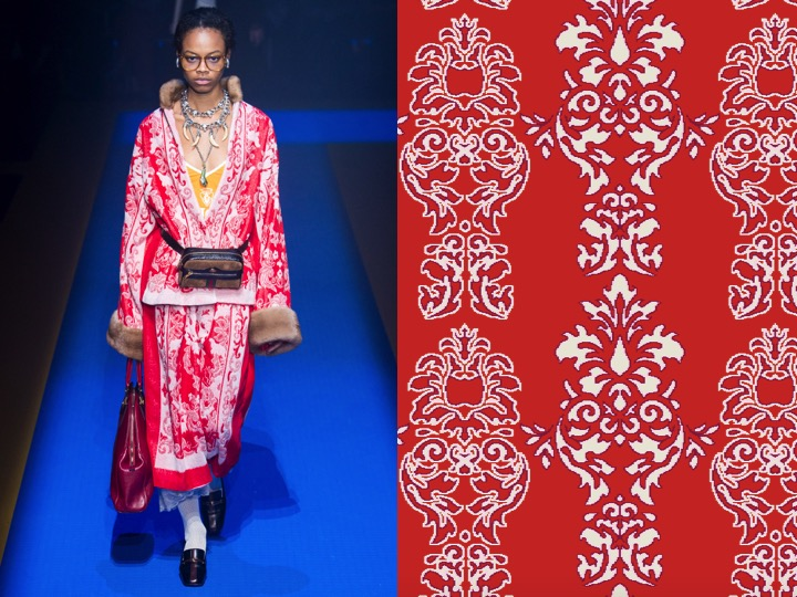 Left: Gucci SS'18 RTW / Right: Design no. SX02860-4