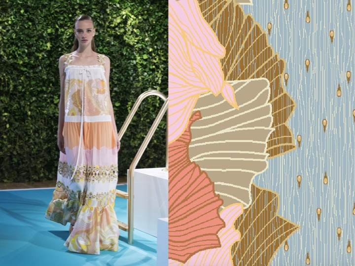Left: Emilio Pucci SS'18 RTW / Right: Design no. LX038440r3