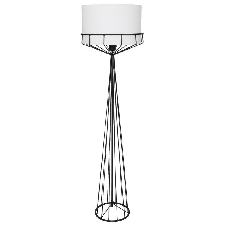 Tony Paul black iron wire frame floor lamp