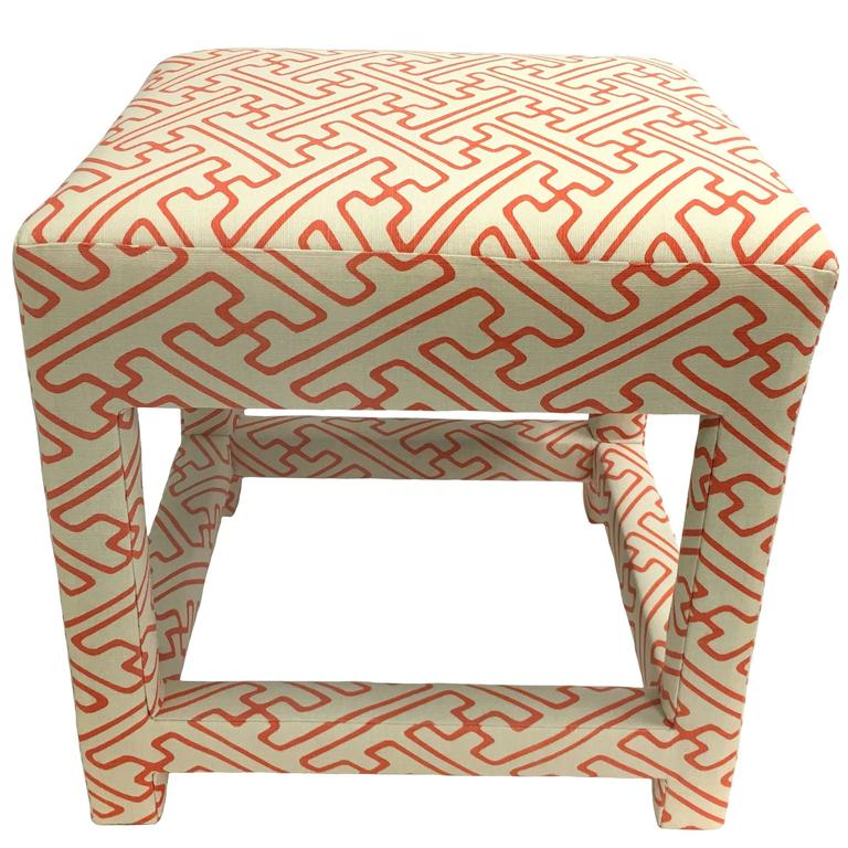 David Hicks style Quadrille Upholstered Parsons Stool