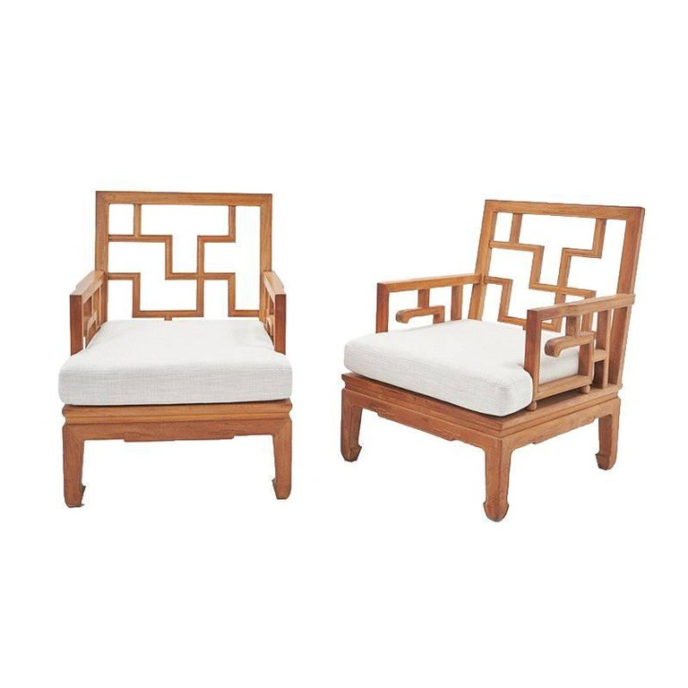 Vintage Chippendale Teak Club Chairs