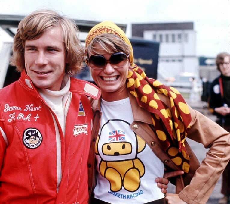 May 11, 1975– James Hunt, driver for Hesketh-Ford (and Suzy Miller, who was his wife for a short time)