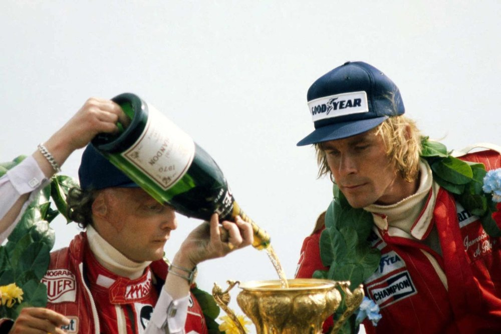 James Hunt celebrating his world championship 1976