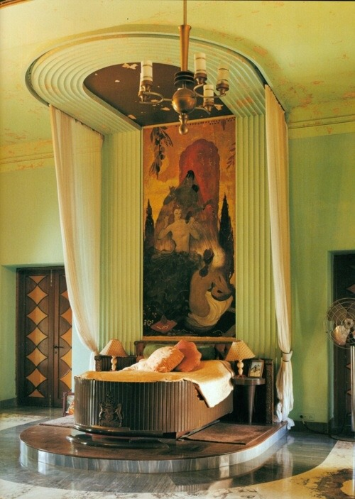 Green Art Deco bedroom
