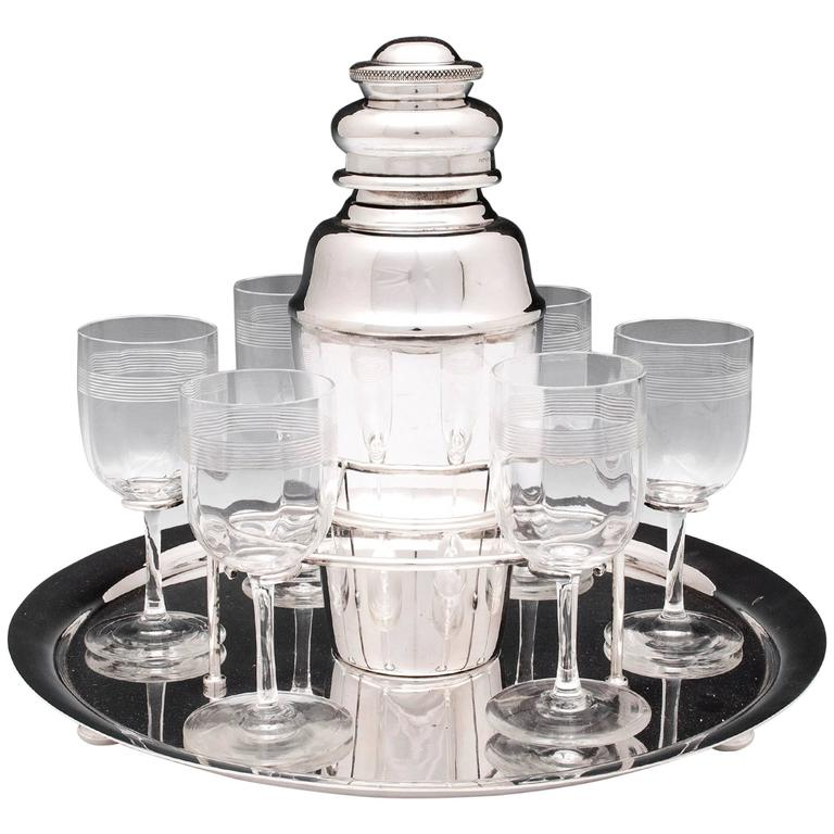 Hukin & Heath Art Deco Silver Plate Cocktail Set
