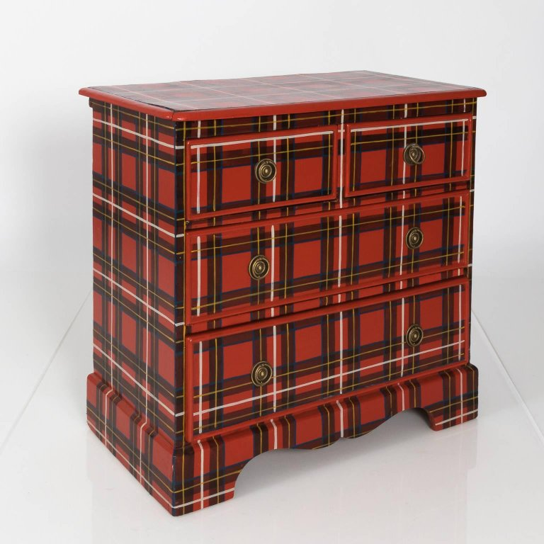 Victorian Tartan Painted Chest