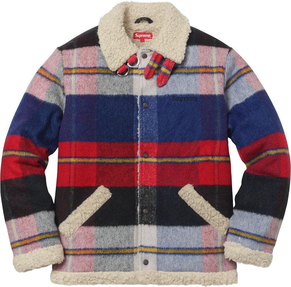 Supreme FW'17 Tartan Shearling Jacket