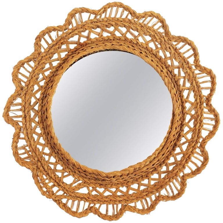 Spanish Handwoven Esparto Grass Flower Shaped Mirror