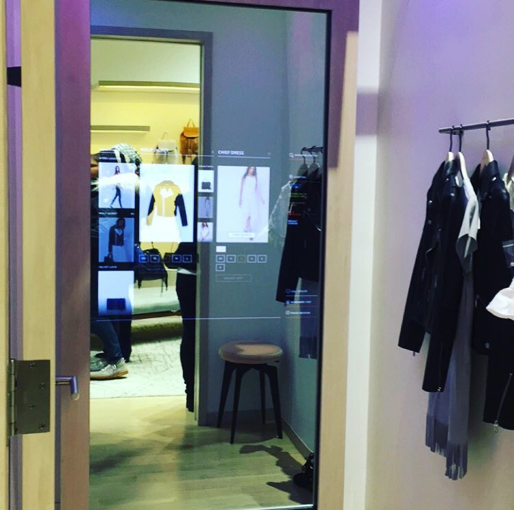 Checking out the interactive dressing room at the  Rebecca Minkoff  Soho store while hearing financial adviser  Farnoosh Torabi  discuss about negotiating salary and how to save money. Listen to her podcast  'So Money'    here  .