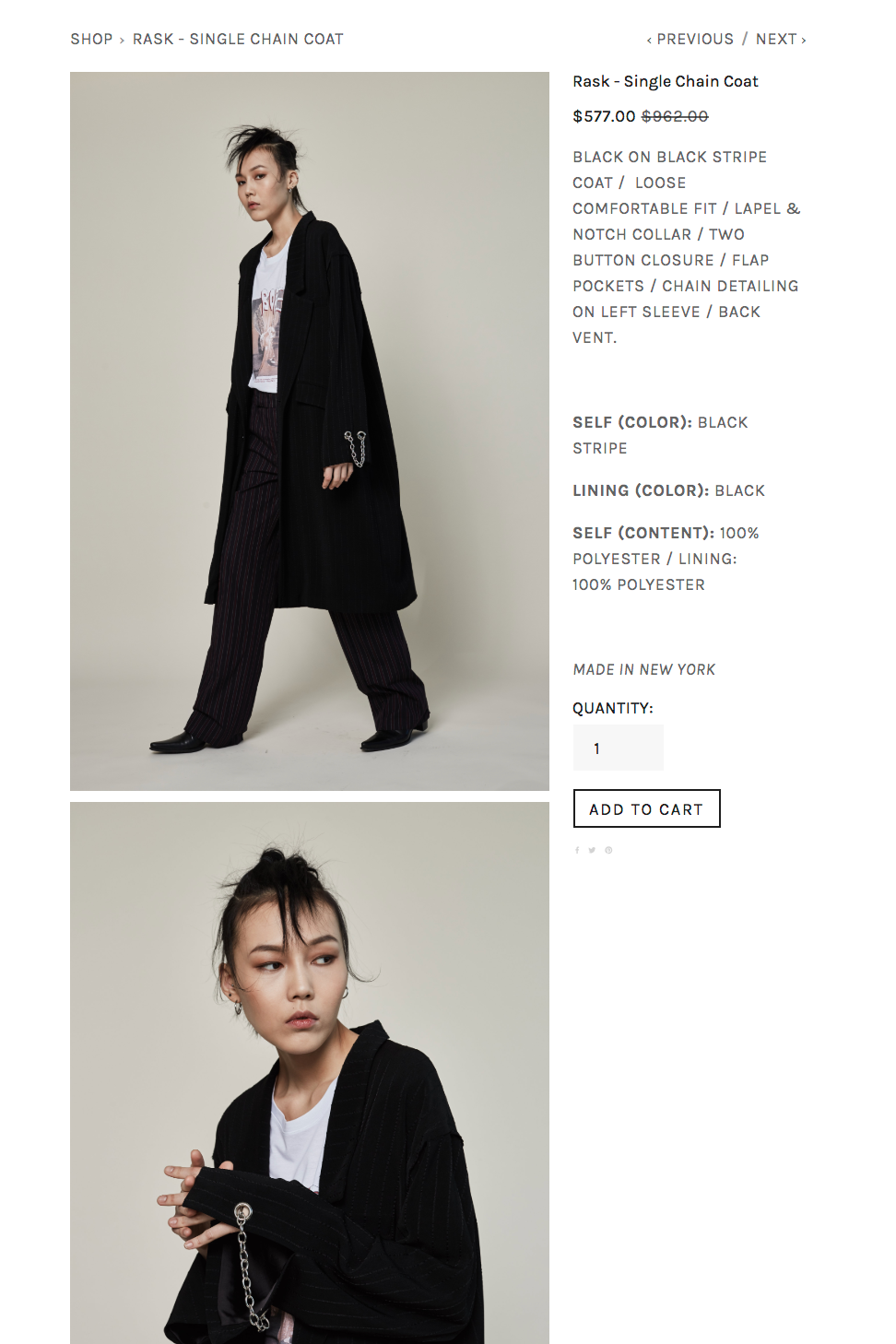 coalitionmarket.com  featuring   RASK   brand & their single chain coat from their Fall 2018 collection.