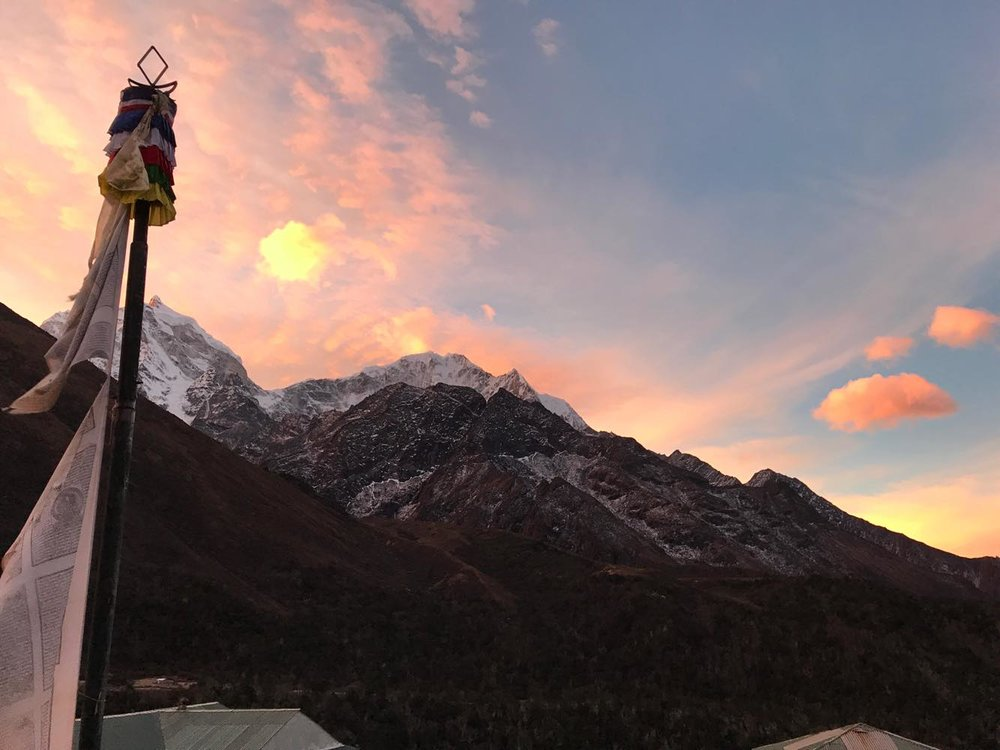 A sunset over the village of Pangboche, which happens to be our E4E Optometrist, Tashy Sherpa's, home.