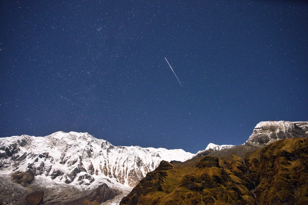 Satellite and Shooting Stars at Annapurna Base Camp