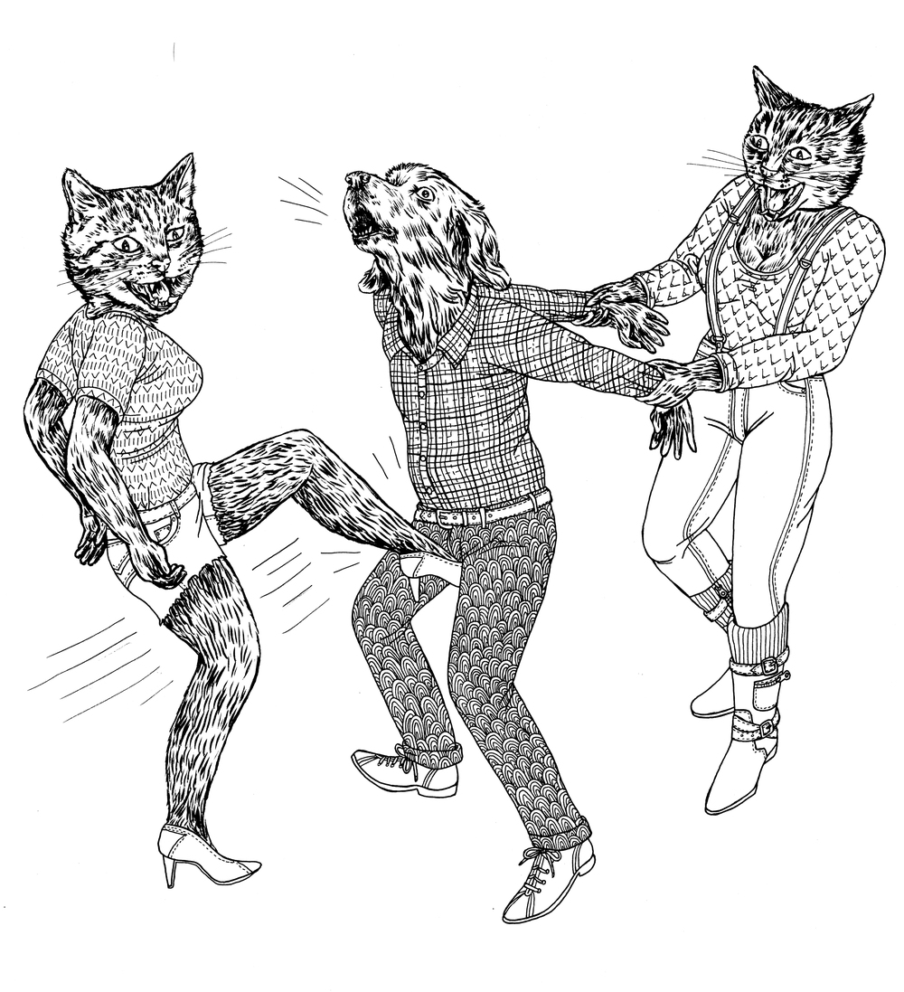 Two Cats Kicking a Dog in the Balls