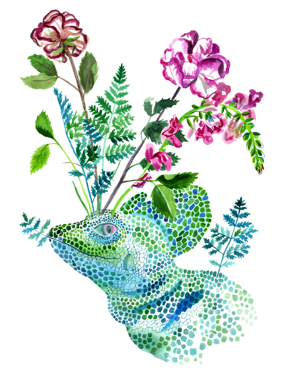 Basilisk Lizard and Flowers