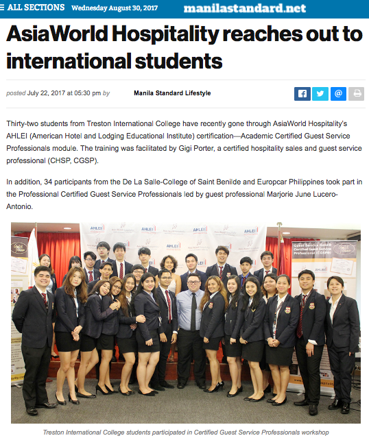 MANILA STANDARD PHILIPPINES • JULY 22, 2017 • VIEW FULL ARTICLE:  http://thestandard.com.ph/lifestyle/young-life/242548/asiaworld-hospitality-reaches-out-to-international-students.html