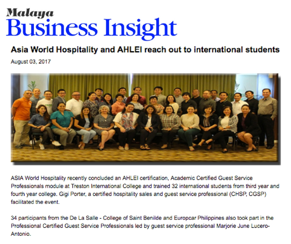 MALAYA BUSINESS INSIGHT• AUGUST 03, 2017 • VIEW FULL ARTICLE: http://www.malaya.com.ph/business-news/living/asia-world-hospitality-and-ahlei-reach-out-international-students