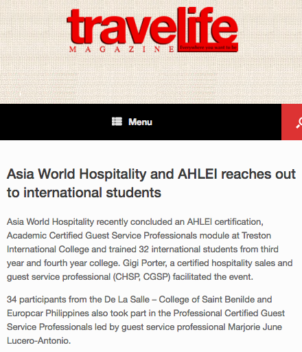 TRAVELIFEMAGAZINE • AUGUST 08, 2017 • VIEW FULL ARTICLE:  http://travelife.biz/asia-world-hospitality-ahlei-reaches-international-students/