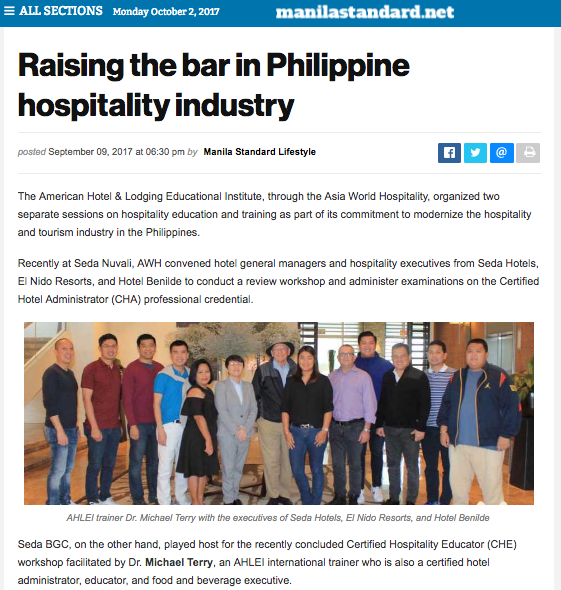 manila standard philippines • september 09, 2017 • read full article:  http://thestandard.com.ph/lifestyle/arts-life/246561/raising-the-bar-in-philippine-hospitalityindustry.html
