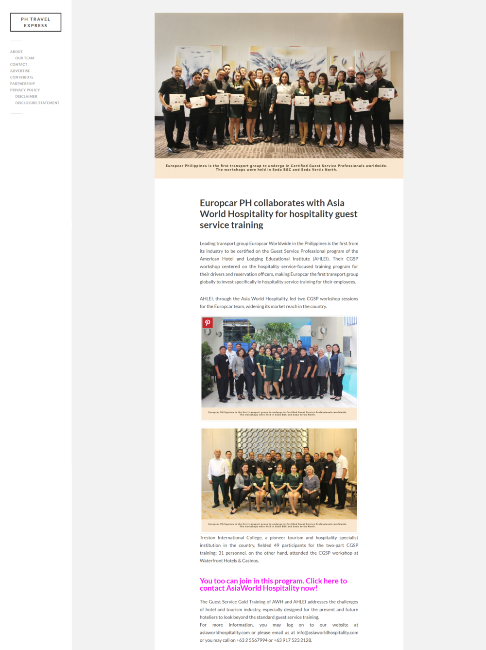 PHTravelExpress | November 2,2017  http://www.phtravelexpress.com/europcar-ph-collaborates-with-asia-world-hospitality-for-hospitality-guest-service-training/