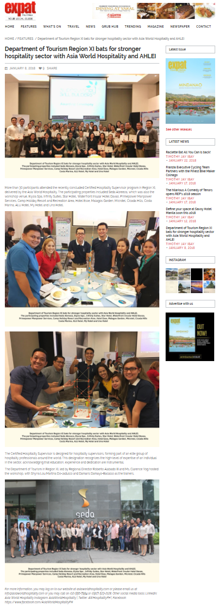 Expat Newspaper www.expatphilippines.ph January 8, 2018